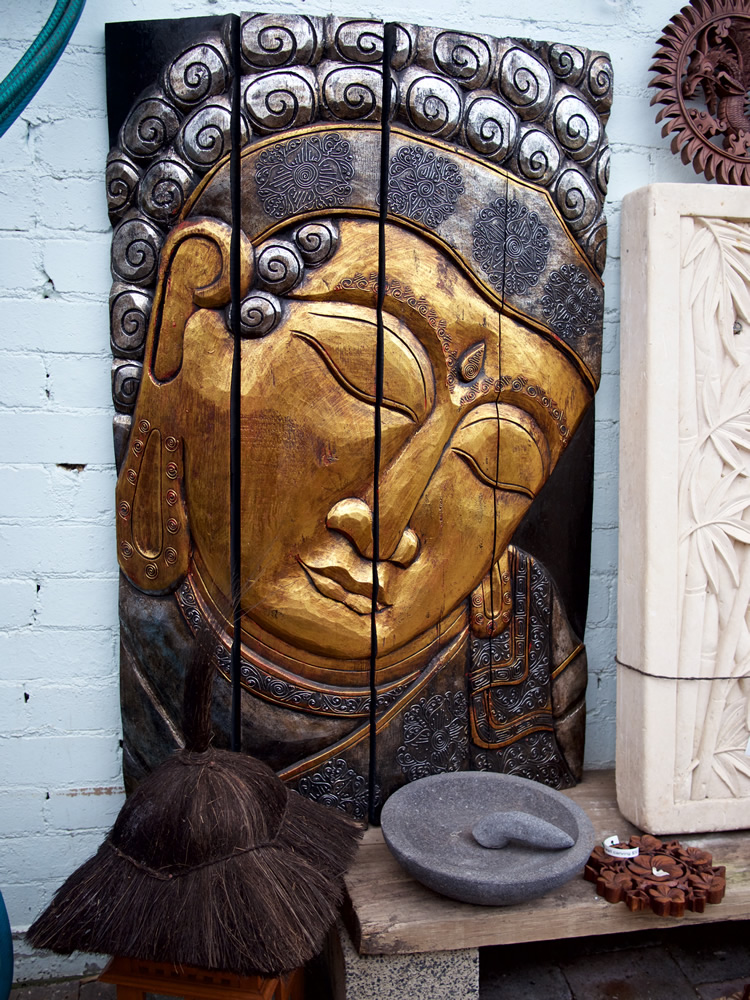 Gold Buddha Panel Wood Bali $450