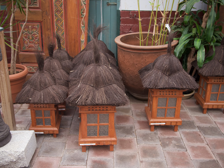 Lanterns Thatched - Bali <br> Small $65<br> Medium $95<br> Large $125