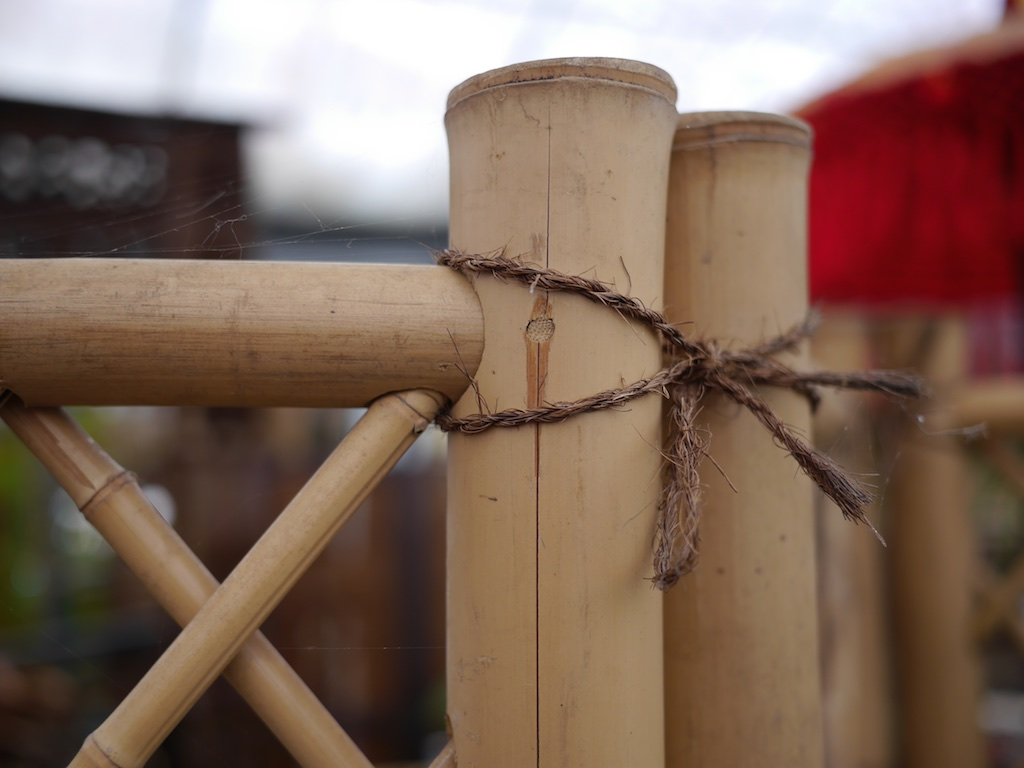 Bamboo fencing light coloured 1.8 h 1.2 wide with twine $180 <br> Bamboo fencing light coloured 1.8