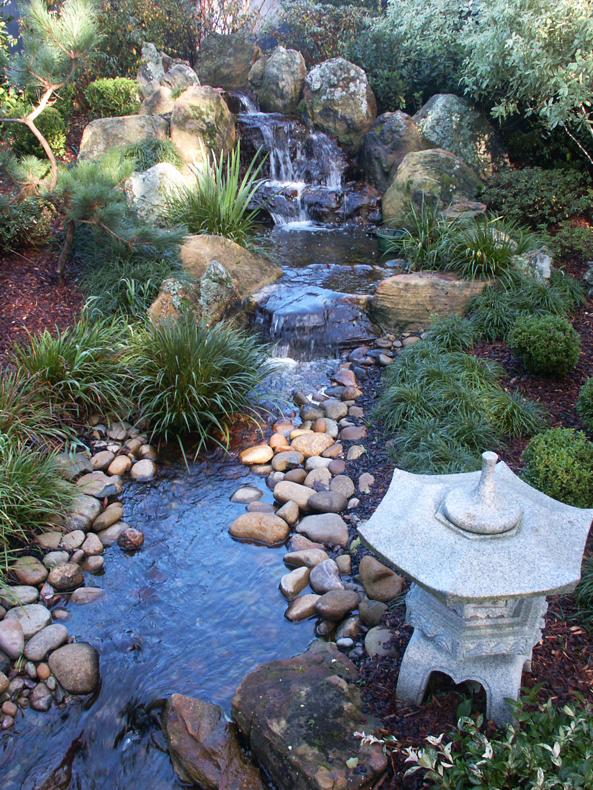 Cascade Stream & Lantern - Private Garden by Imperial Gardens Landscape