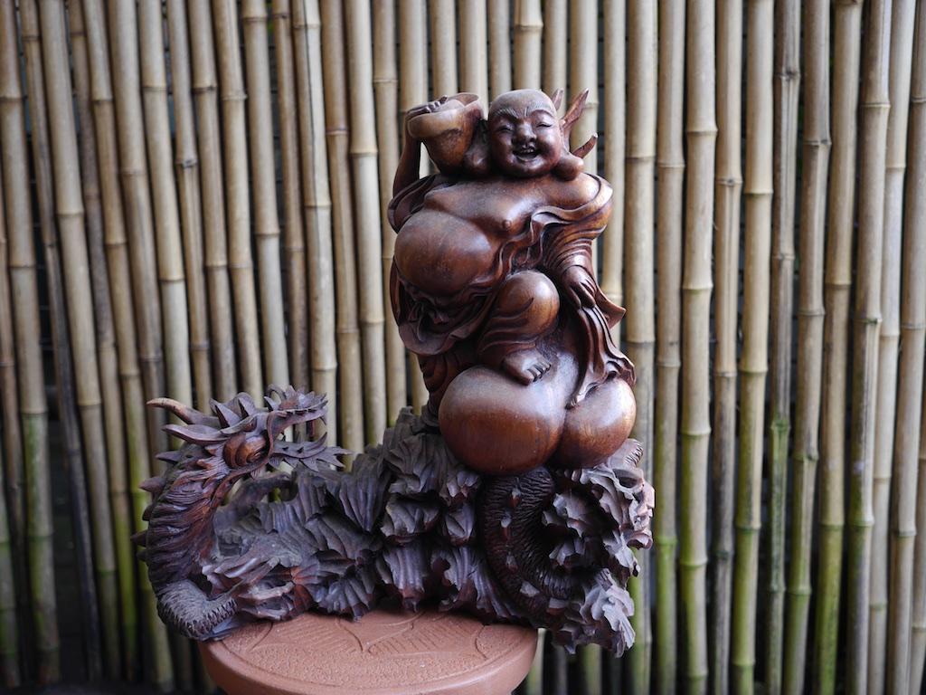 Hotei Buddha & Dragon Wood Bali $475