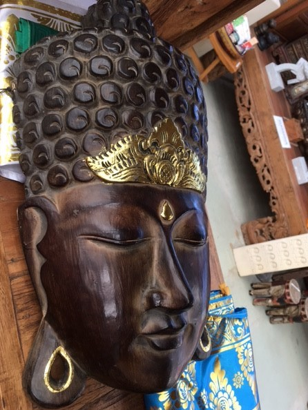 Buddha mask Balinese hand carved timber $350