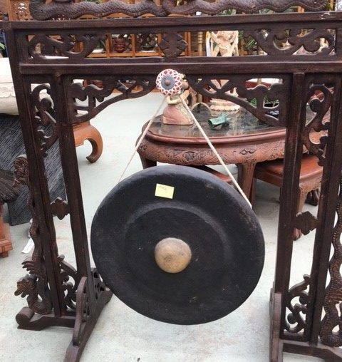 Bronze Gong Balinese with carved dragon motif $650
