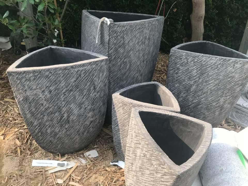 Triangular Bali-crete bowls 48cm H $215 <br>60cm H $350 <br>78cm H $450