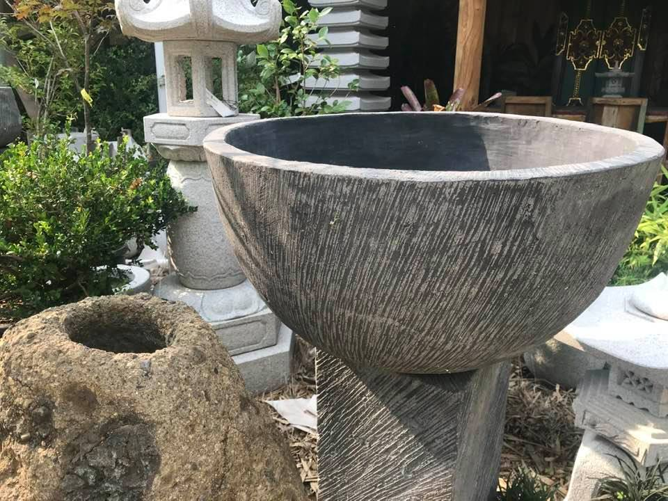 Lotus shaped Bali-crete bowls 75cm D 40cm H $350<br> 60cm D 36cm H $250