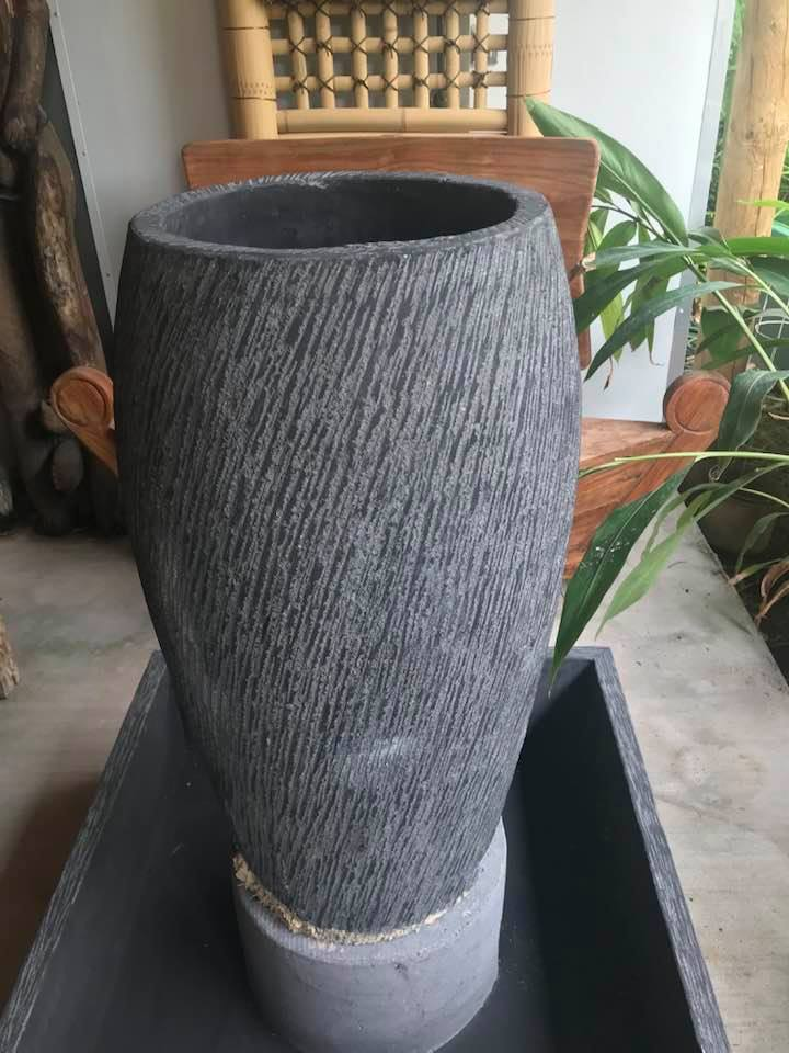 Conical curved shaped Bali-crete bowl 91cm H $550