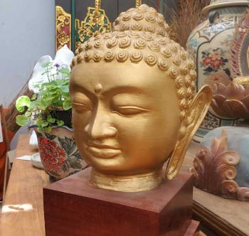 Buddha Head painted wood on wooden stand