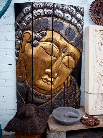 Gold Buddha Panel Wood Bali $450