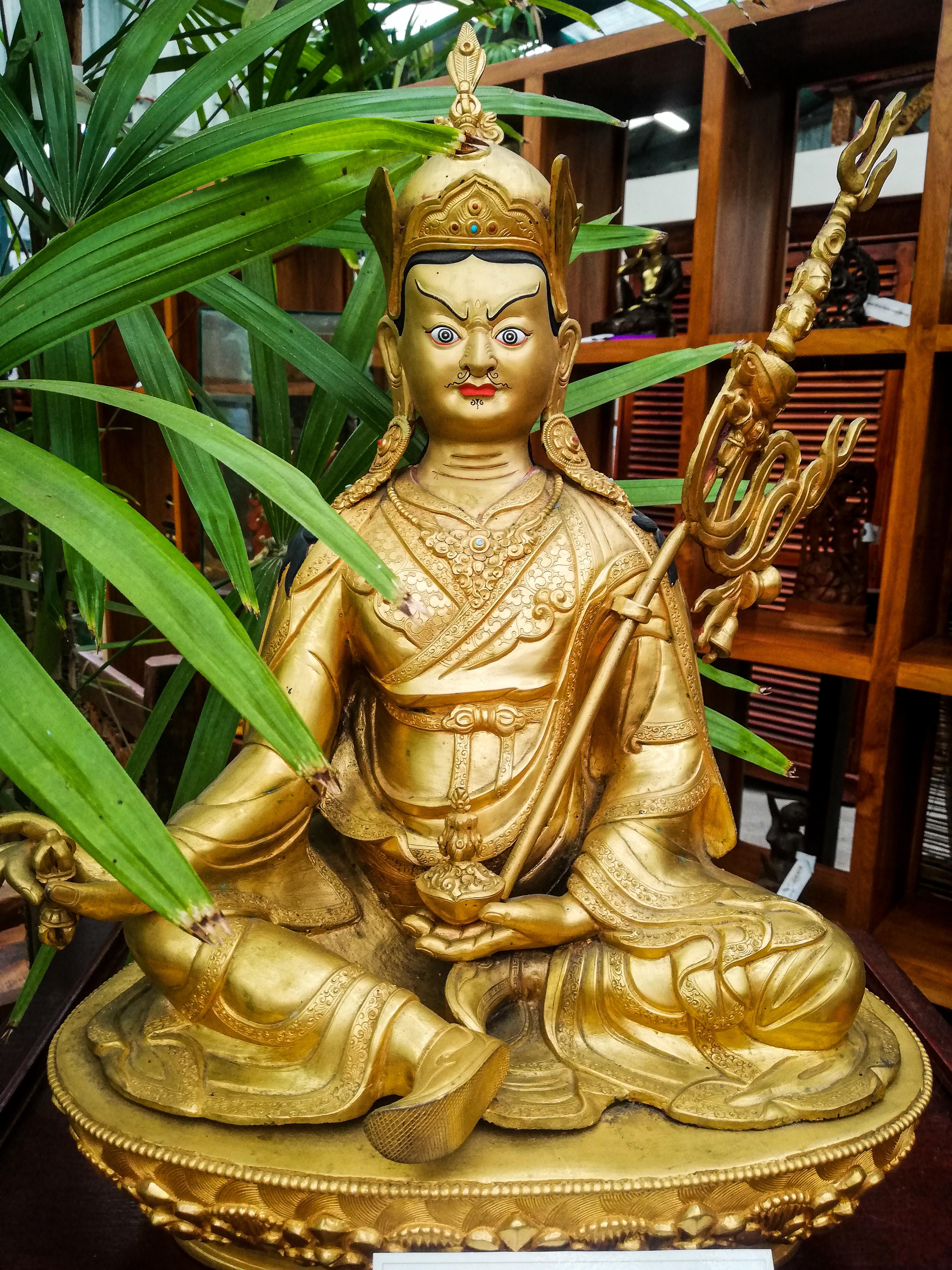 Padmasambhava Guru Rinpoche <br> Tibetan Gilded Bronze from Nepal <br> $1,850